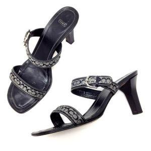 Coach Maria Monogram Open Toe Sandals Heels 8.5 B